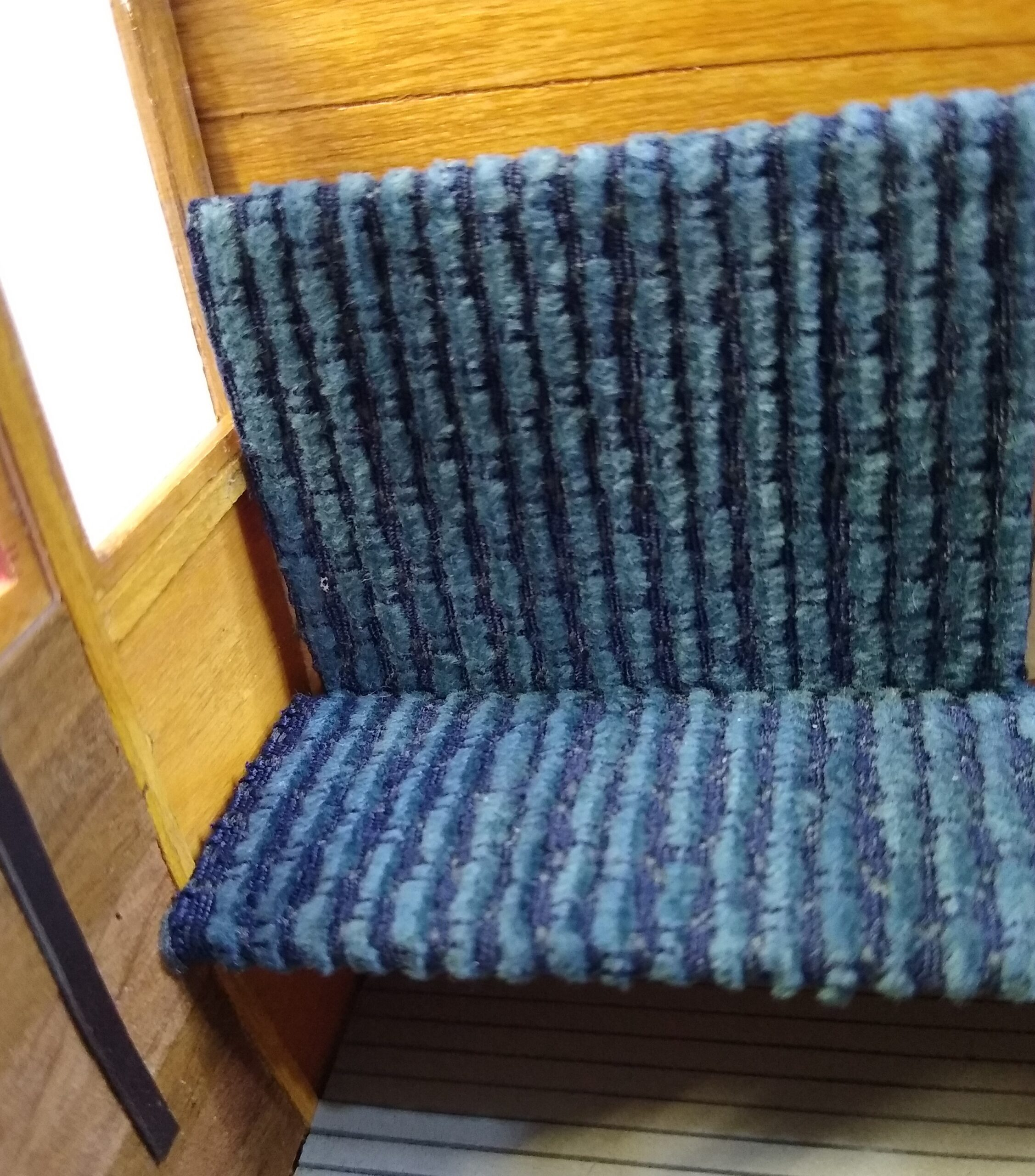 Builders Yard End of line sale Blue Ribbed fabric 1