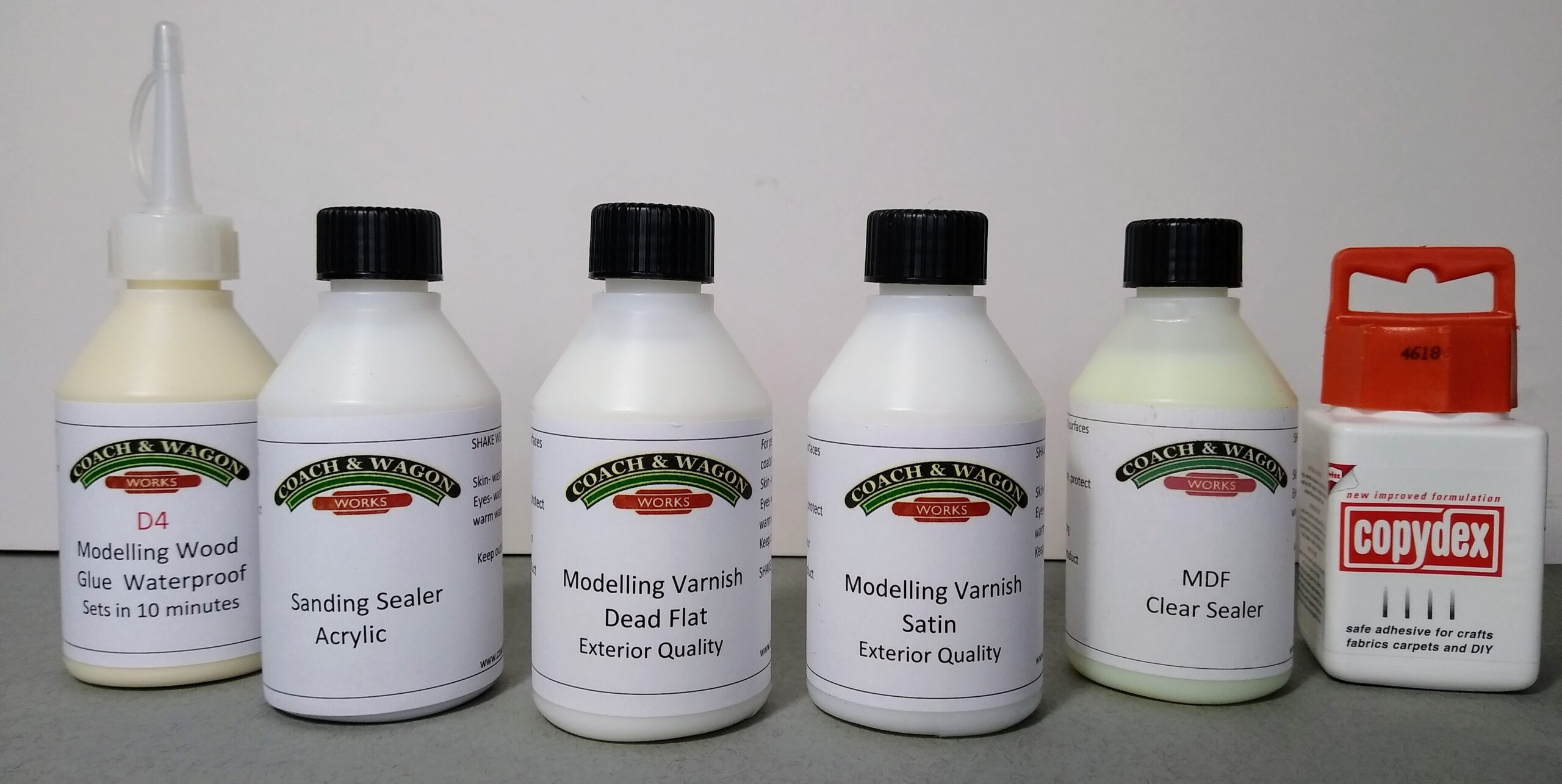 Builders yard glue varnishes and sealers