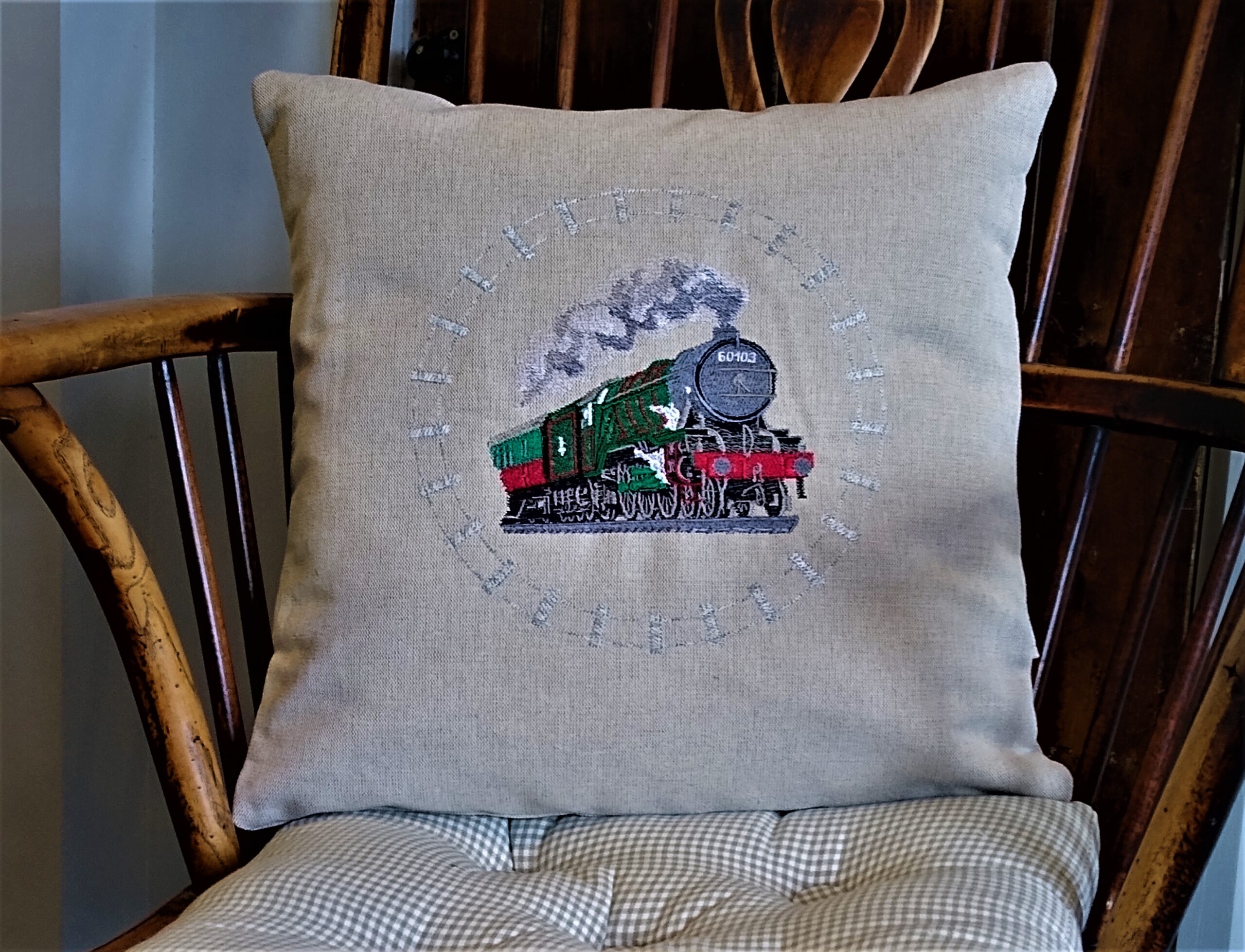Giftshop Beige Train scatter cushion