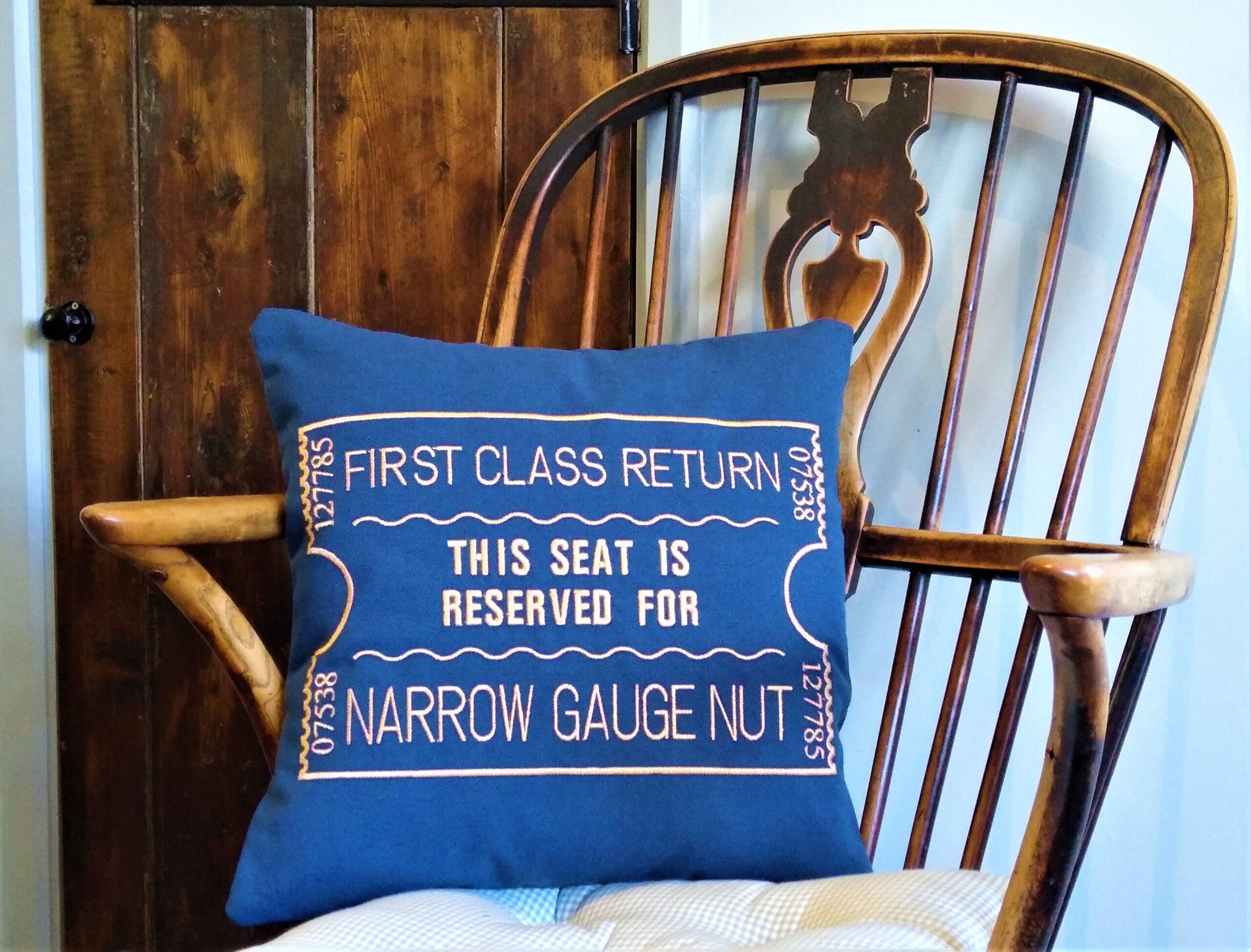 Blue Narrow gauge nut scatter cushion