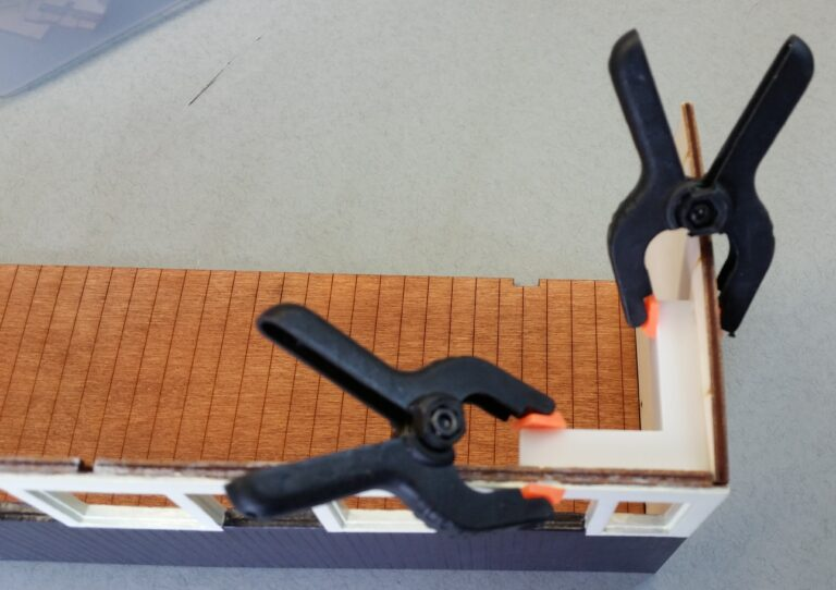 Builders yard Tools and Abrasives Clamping squares in use